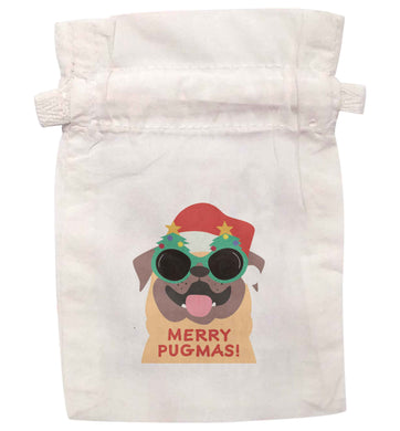 Merry Pugmas | XS - L | Pouch / Drawstring bag / Sack | Organic Cotton | Bulk discounts available!