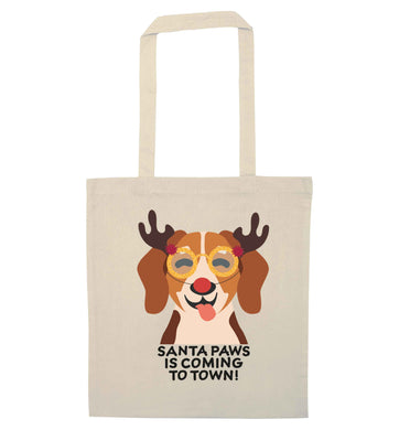 Santa paws is coming to town natural tote bag