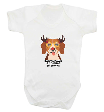Santa paws is coming to town baby vest white 18-24 months