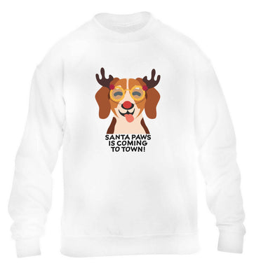 Santa paws is coming to town children's white sweater 12-13 Years