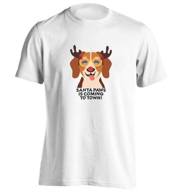 Santa paws is coming to town adults unisex white Tshirt 2XL