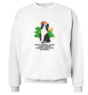 Don't worry I have everything under complete control adult's unisex white sweater 2XL