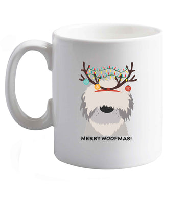 10 oz Merry Woofmas! ceramic mug right handed