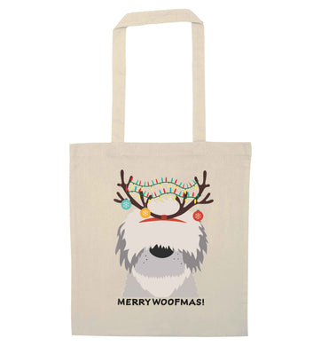 Merry Woofmas! natural tote bag