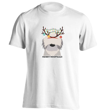 Merry Woofmas! adults unisex white Tshirt 2XL