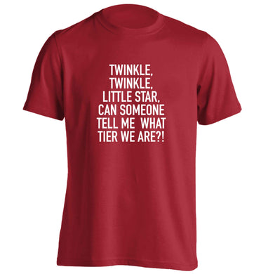 Twinkle twinkle, little star does anyone know what tier we are? adults unisex red Tshirt 2XL