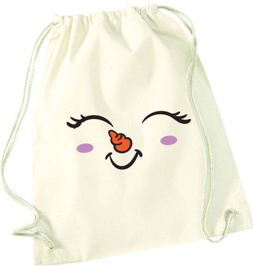 Cute snowman face natural drawstring bag