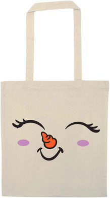 Cute snowman face natural tote bag