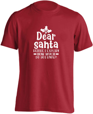 Santa before I explain how much do you know? adults unisex red Tshirt 2XL