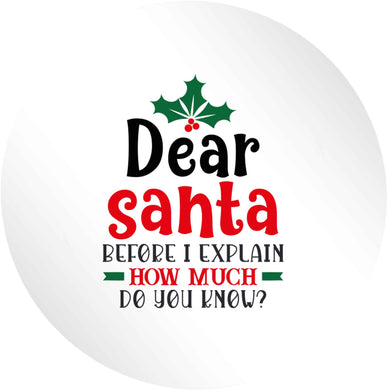 Santa before I explain how much do you know? 24 @ 45mm matt circle stickers