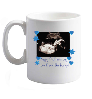 10 oz Happy Mother's day love from the bump - blue ceramic mug right handed