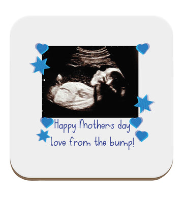 Happy Mother's day love from the bump - blue set of four coasters