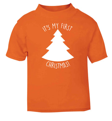 It's my first Christmas - tree orange baby toddler Tshirt 2 Years
