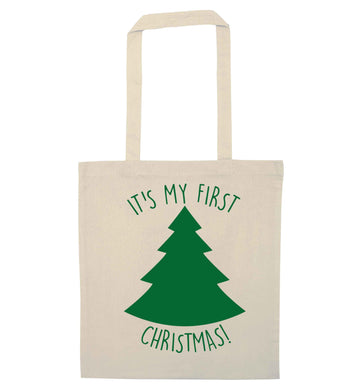 It's my first Christmas - tree natural tote bag