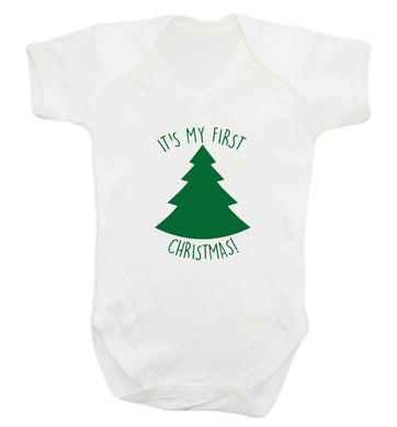It's my first Christmas - tree baby vest white 18-24 months