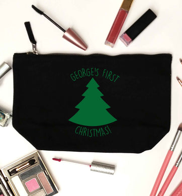 Personalised it's my first Christmas - tree black makeup bag
