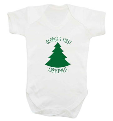 Personalised it's my first Christmas - tree baby vest white 18-24 months
