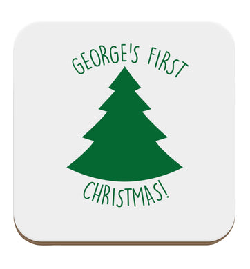 Personalised it's my first Christmas - tree set of four coasters