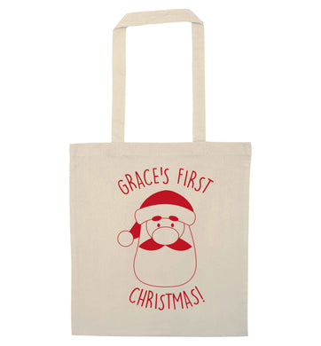 Personalised first Christmas - santa natural tote bag