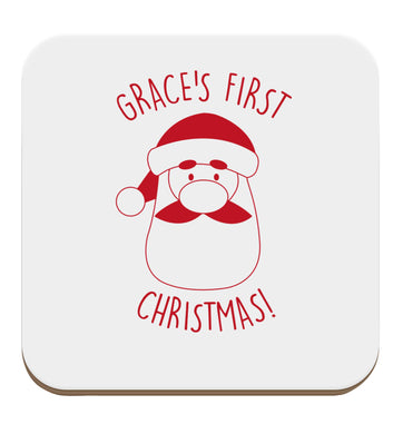 Personalised first Christmas - santa set of four coasters