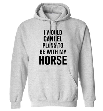 I will cancel plans to be with my horse adults unisex grey hoodie 2XL