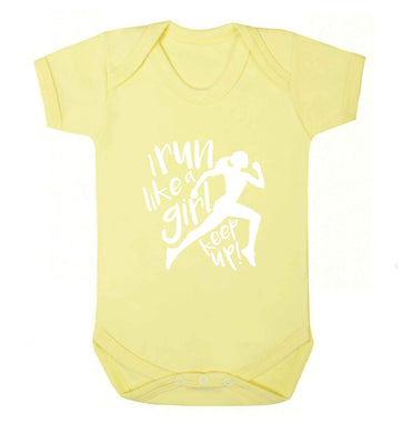 I run like a girl, keep up! baby vest pale yellow 18-24 months