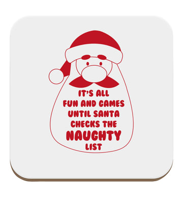 It's all fun and games until Santa checks the naughty list set of four coasters