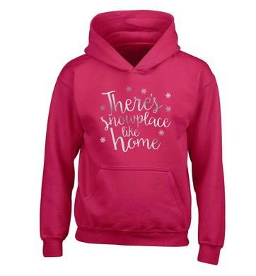 There's snowplace like home - metallic silver children's pink hoodie 12-13 Years