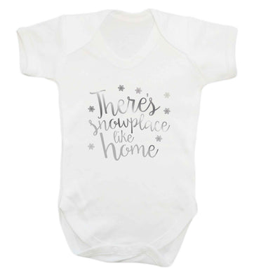 There's snowplace like home - metallic silver baby vest white 18-24 months