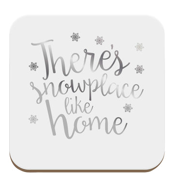 There's snowplace like home - metallic silver set of four coasters
