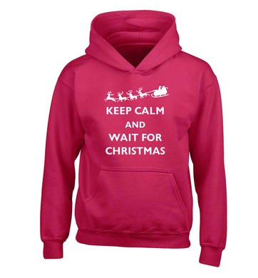 Keep calm and wait for Christmas children's pink hoodie 12-13 Years