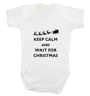 Keep calm and wait for Christmas baby vest white 18-24 months