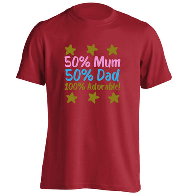50% mum 50% dad 100% adorable adults unisex red Tshirt 2XL