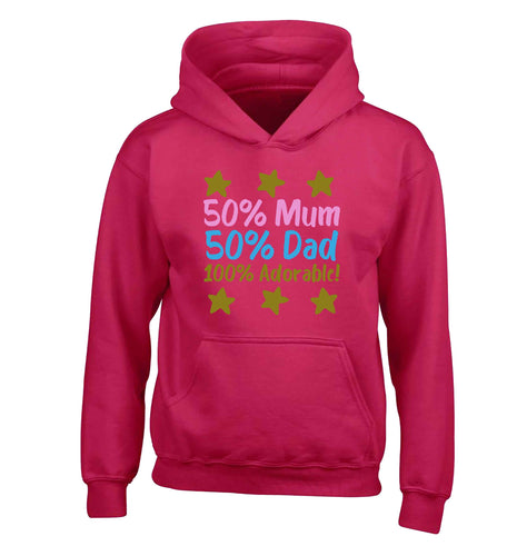 50% mum 50% dad 100% adorable children's pink hoodie 12-13 Years