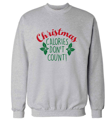 Christmas calories don't count adult's unisex grey sweater 2XL