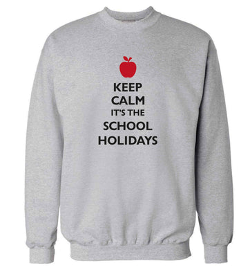 Keep calm it's the school holidays adult's unisex grey sweater 2XL