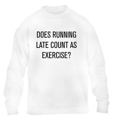 Does running late count as exercise? children's white sweater 12-13 Years