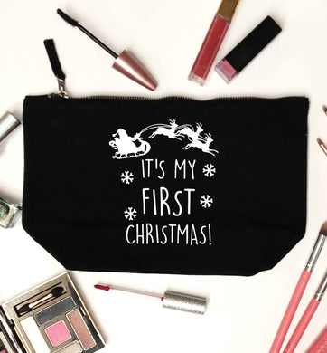 It's my first Christmas - Santa sleigh text black makeup bag