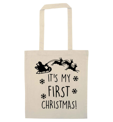 It's my first Christmas - Santa sleigh text natural tote bag
