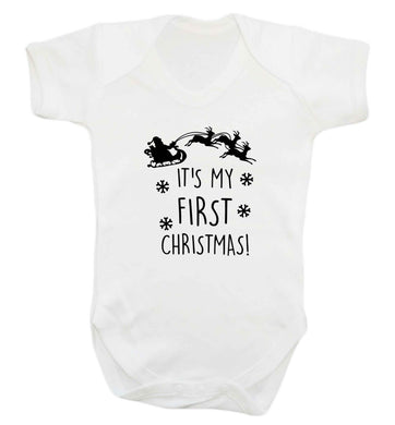 It's my first Christmas - Santa sleigh text baby vest white 18-24 months