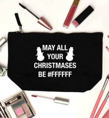 May all your Christmases be #FFFFFF black makeup bag