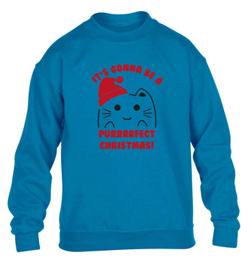 It's going to be a purrfect Christmas children's blue sweater 12-13 Years
