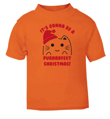 It's going to be a purrfect Christmas orange baby toddler Tshirt 2 Years