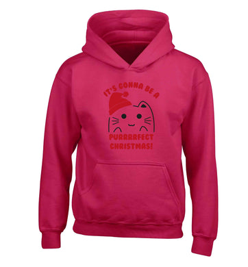 It's going to be a purrfect Christmas children's pink hoodie 12-13 Years