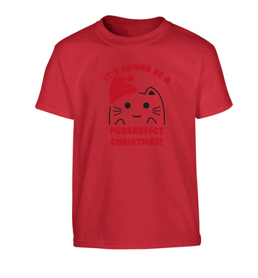 It's going to be a purrfect Christmas Children's red Tshirt 12-13 Years
