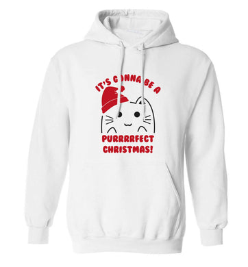 It's going to be a purrfect Christmas adults unisex white hoodie 2XL