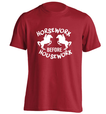 Horsework before housework adults unisex red Tshirt 2XL