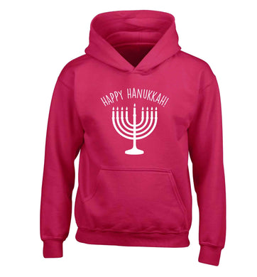 Happy hanukkah children's pink hoodie 12-13 Years