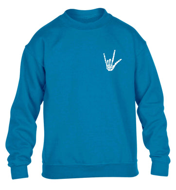 Skeleton Hand Pocket children's blue sweater 12-13 Years