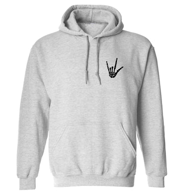 Skeleton Hand Pocket adults unisex grey hoodie 2XL